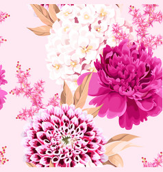 Seamless pattern with pink vintage flowers vector