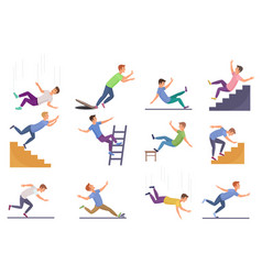 set falling man isolated falling from chair vector image