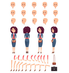 set of female faces hands and legs color banner vector image