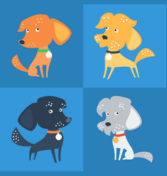 Set of funny mixed breed or mongrel dog vector