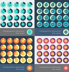 Set of the round segmented charts in flat style vector image