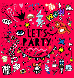 Set party hand drawn doodle sketch line party vector