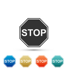 stop sign icon isolated on white background vector image