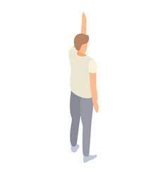 Student man hand up icon isometric style vector