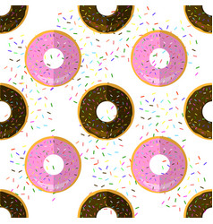 sweet glazed colorful donut seamless pattern on vector image