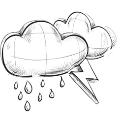 Two clouds with lightnings and rain drops vector image
