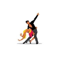 Two elegance tango dancers sign vector