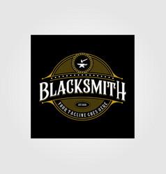 vintage blacksmith forge logo anvil design vector image