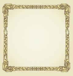 Vintage gold floral typographic frame vector