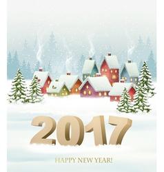 Winter village night New year background vector image