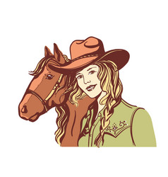 Woman with cowboy hat portrait and horse han vector