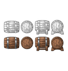 wooden barrel front and side view engraving vector image