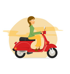 Young women riding scooter motorcycle vector