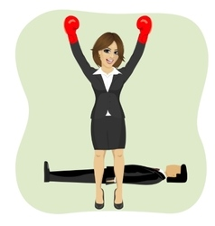 business woman cheering wearing boxing gloves vector image vector image