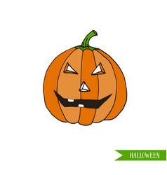 cartoon halloween jack-o-lantern pumpkin sticker vector image