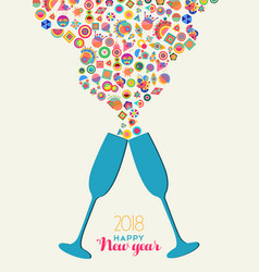 happy new year 2018 colrful party toast splash vector image