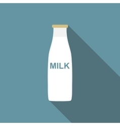 Milk Flat Icon with Long Shadow vector image vector image