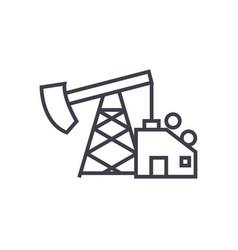oil pump jack line icon sign vector image vector image