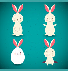 set of four easter rabbits on blue background vector image vector image