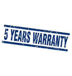 Square grunge blue 5 years warranty stamp vector