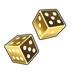 Two Golden Dice Cubes on White Background vector image vector image