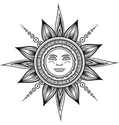 Vintage hand drawn sun eclipse vector image vector image