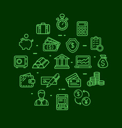 banking and accounting icon round design template vector image vector image