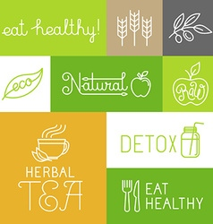 Healthy and fresh farm products labels vector