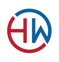letter hw logo design vector image vector image
