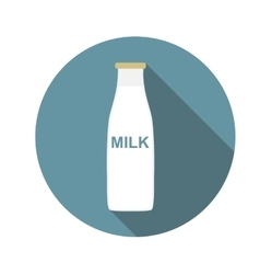 Milk Flat Icon with Long Shadow vector image