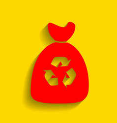 trash bag icon red icon with soft shadow vector image vector image