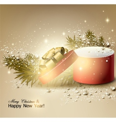 Christmas background with gift Xmas box with bow vector image vector image