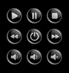 Media player glassy buttons collection vector image