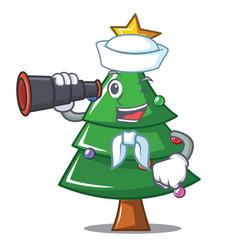 Sailor with binocular christmas tree character vector