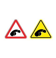 Warning sign attention penis Hazard yellow sign vector image vector image