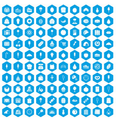 100 confectionery icons set blue vector