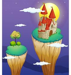 A castle at the topmost part of a landform vector