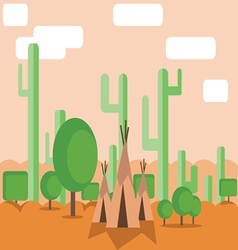 Abstract landscape design with green cactus trees vector image