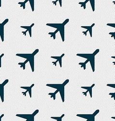 airplane icon sign Seamless pattern with geometric vector image