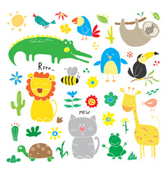 animal doodles set cute animals sketch hand drawn vector image