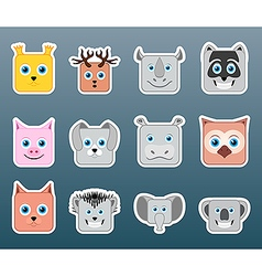 Animals smile stickers vector