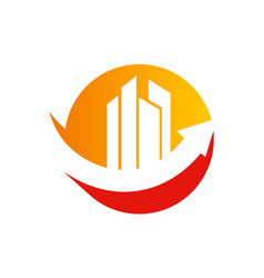 Arrow building investment logo vector