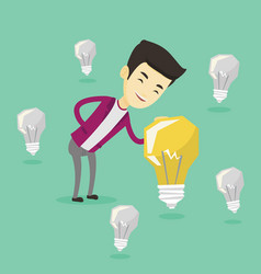 asian businessman having business idea vector image