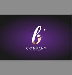 B alphabet letter gold golden logo icon design vector