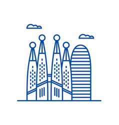 barcelona line icon concept barcelona flat vector image