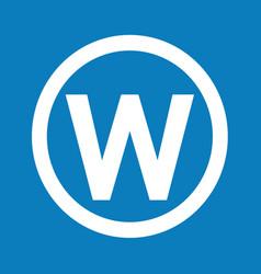 basic font letter w icon design vector image