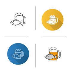 Beer mug with salty fish icon vector