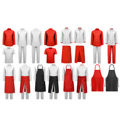 big collection of culinary clothing white and red vector image