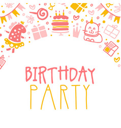birthday party banner template kids holiday vector image