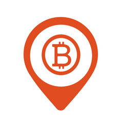 bitcoin map marker icon style is flat vector image